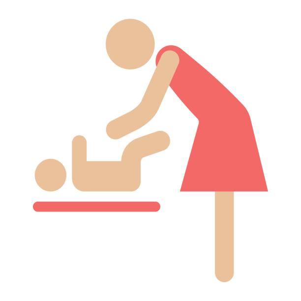 mutter wickeln baby flach symbol, pflege und mutterschaft, vektor-grafiken, eine bunte feste muster auf weißem hintergrund, eps 10. - wickeltisch stock-grafiken, -clipart, -cartoons und -symbole