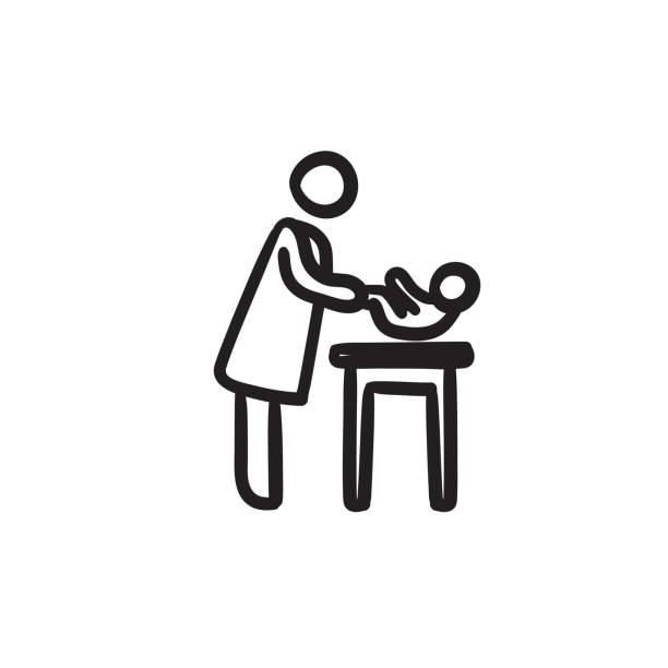 mutter kümmert sich baby-skizze-symbol - wickeltisch stock-grafiken, -clipart, -cartoons und -symbole