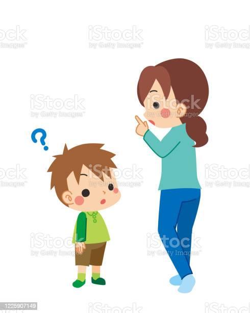 Mother Talking To Child - Immagini vettoriali stock e altre immagini di 4-5 anni