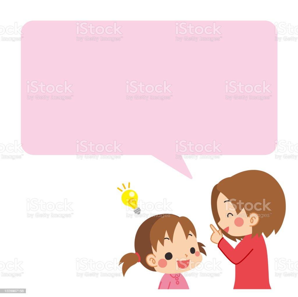 Madre che parla con il bambino - arte vettoriale royalty-free di 4-5 anni