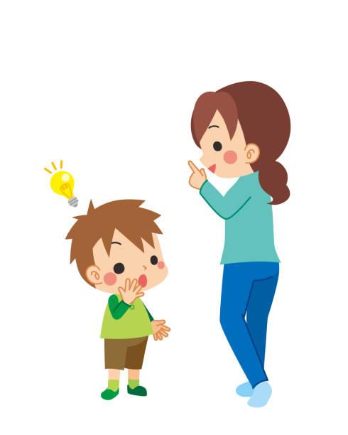 illustrazioni stock, clip art, cartoni animati e icone di tendenza di mother talking to child - two students together asian