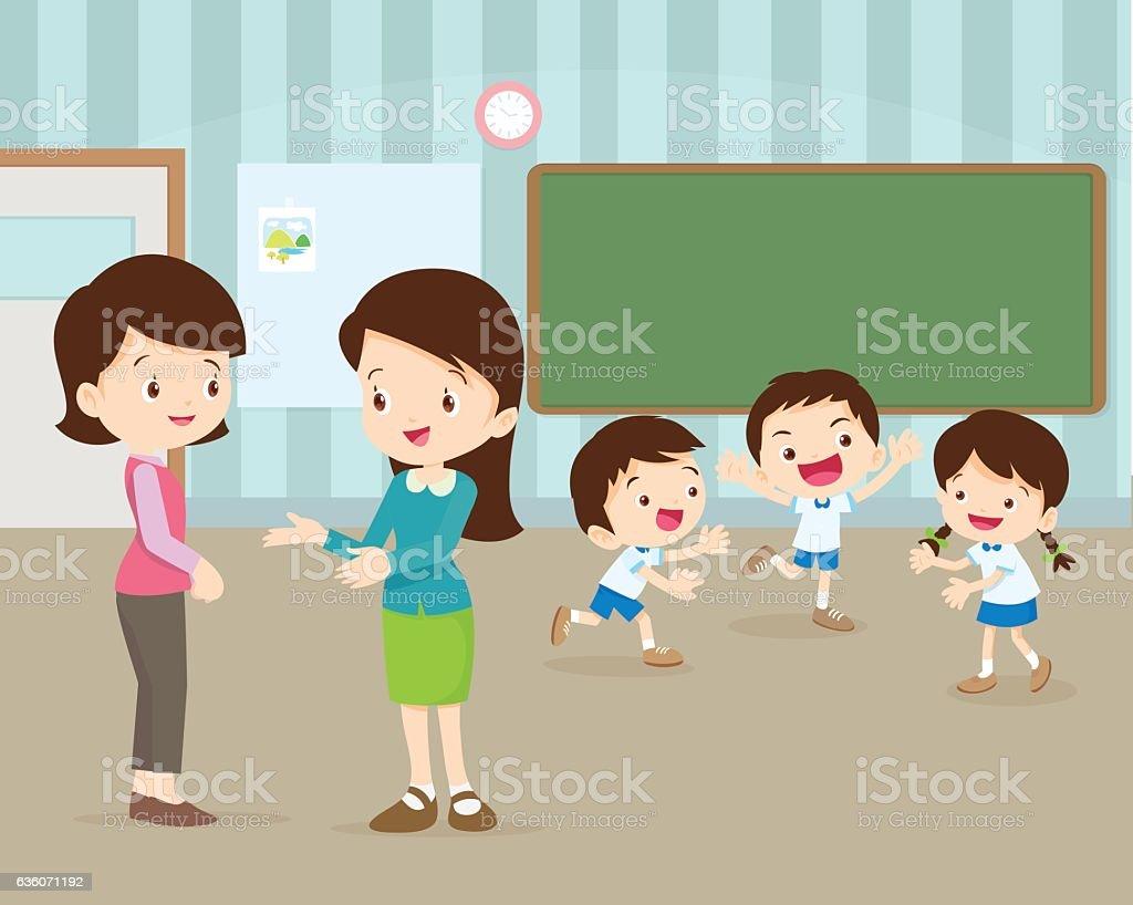 mother talking young teacher vector art illustration