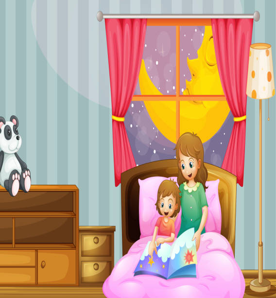 mother telling bedtime story at night - bedtime story stock illustrations