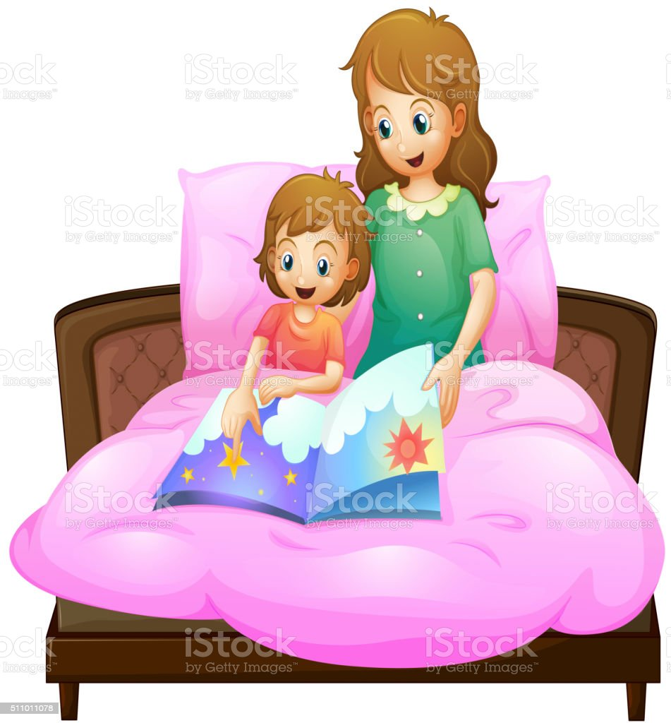 Mother telling bedtime story to kid in bed vector art illustration