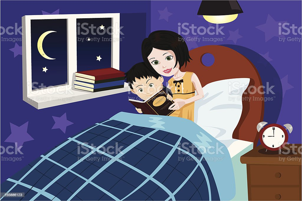 A mother telling her son a bed time story vector art illustration