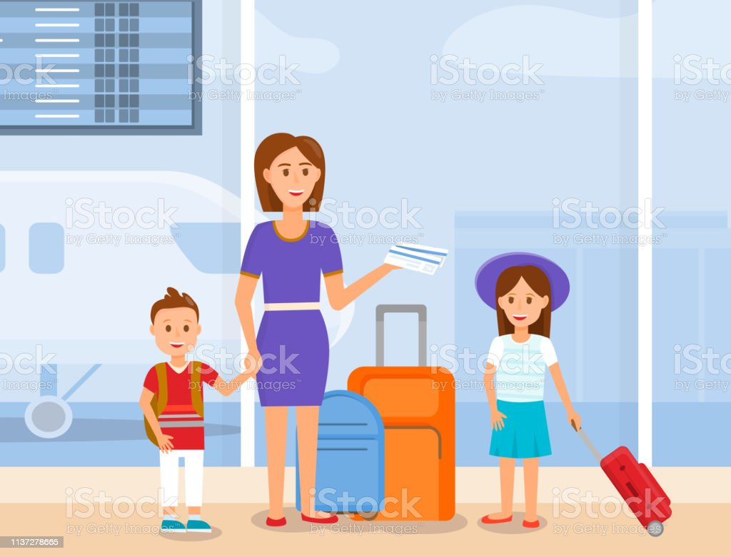 Mother Travel With Son And Daughter Characters Stock