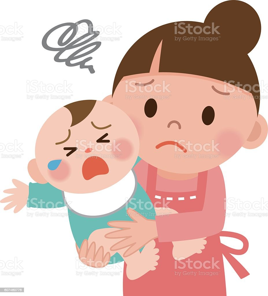 Mother trying to calm her crying baby vector art illustration