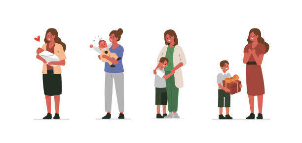 mother - single mother stock illustrations