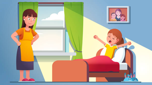 Mother waking daughter kid who is yawning Mother waking daughter kid who is yawning, still lying in bed under blanket. Mom standing at sleepy child bed on late weekend morning. Sun lit home bedroom room interior. Flat vector illustration bedroom clipart stock illustrations