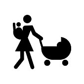 Mother walking with baby on her back and other on stroller icon vector icon. Simple element illustration. Mother walking with baby on her back and other on stroller symbol design. Can be used for web and mobile.