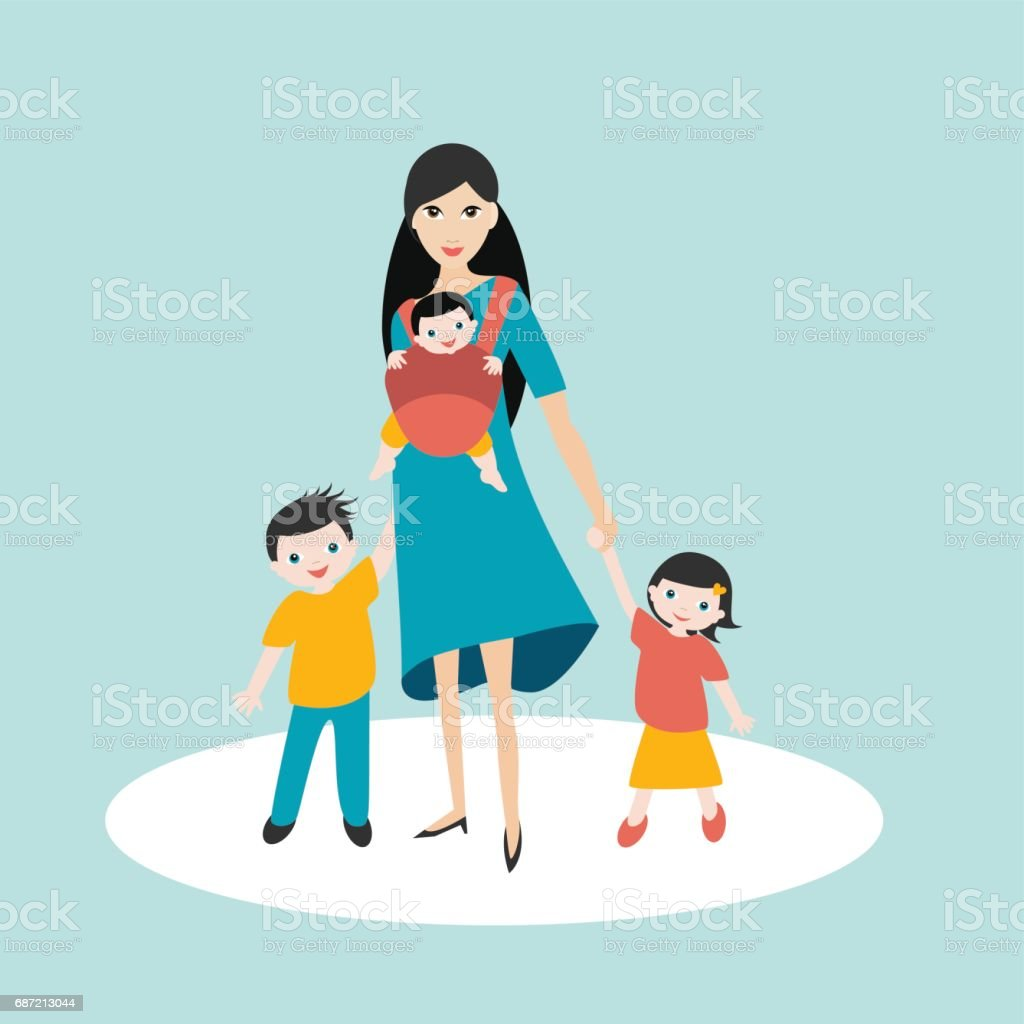 Mother walking with children, son and daughter and baby vector art illustration