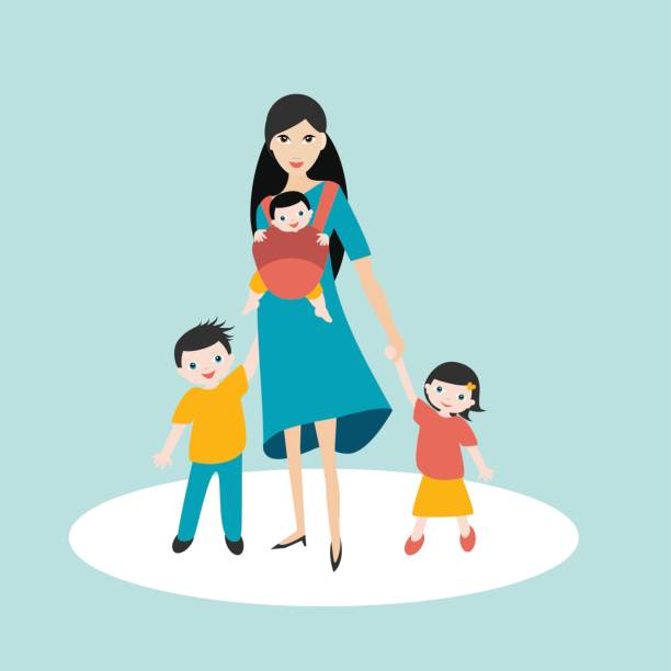 mother walking with children, son and daughter and baby - babytrage stock-grafiken, -clipart, -cartoons und -symbole