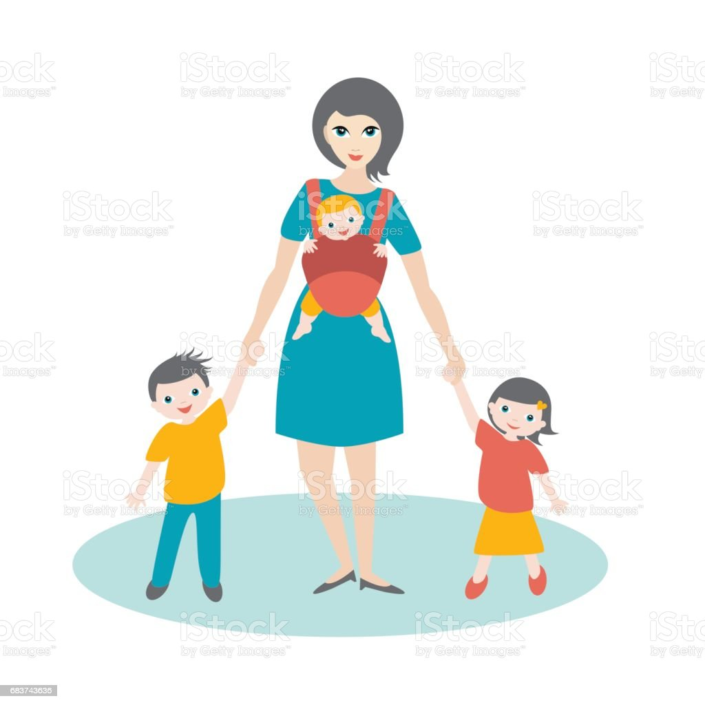 Mother walking with children vector art illustration