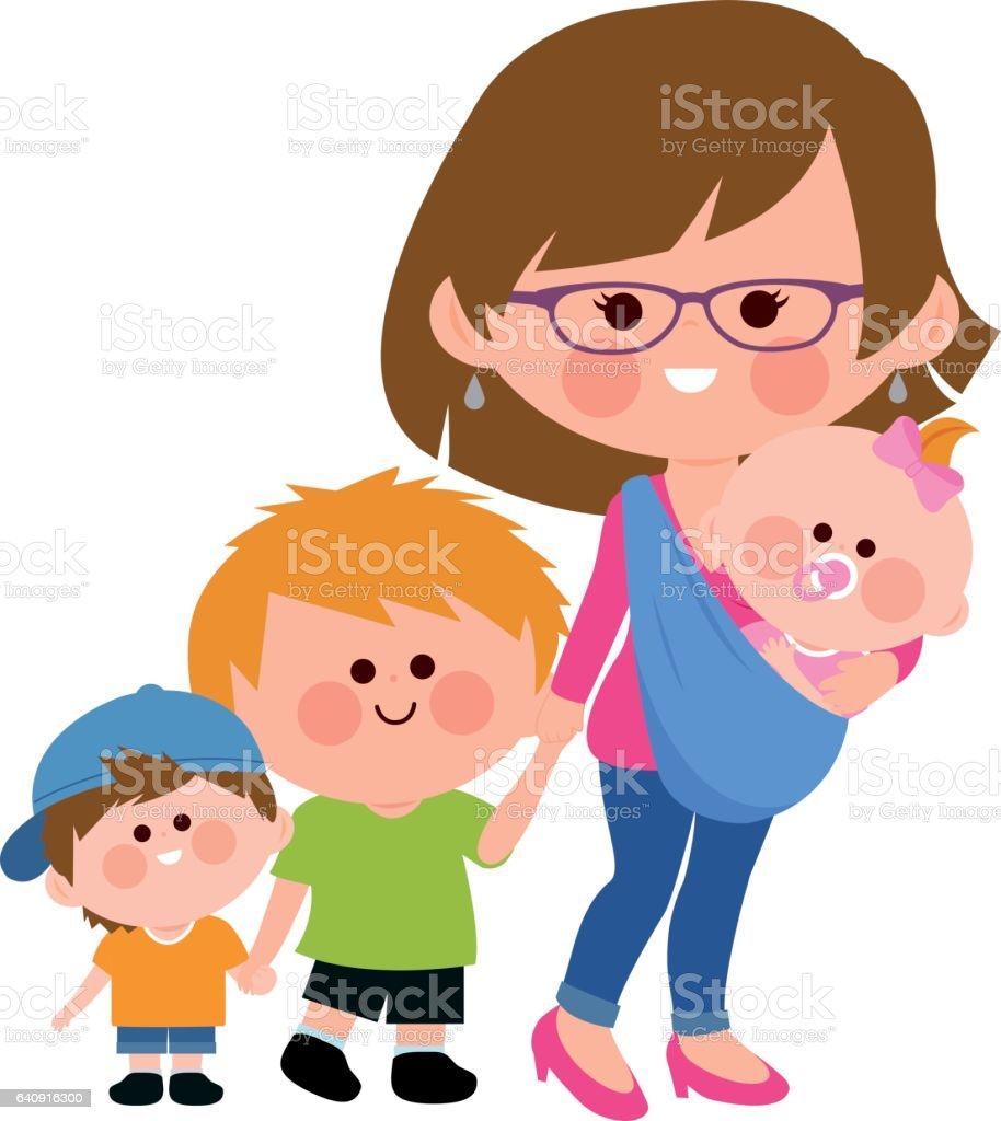 Mother walking with her children and baby in a sling. vector art illustration