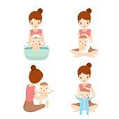 Mother Washing Baby Set