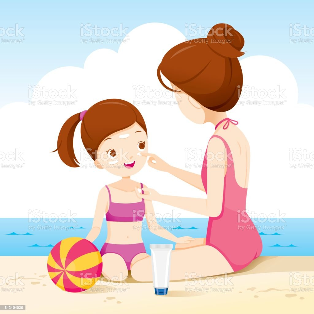 Mother Wearing Sunscreen On Daughter Face On The Beach vector art illustration