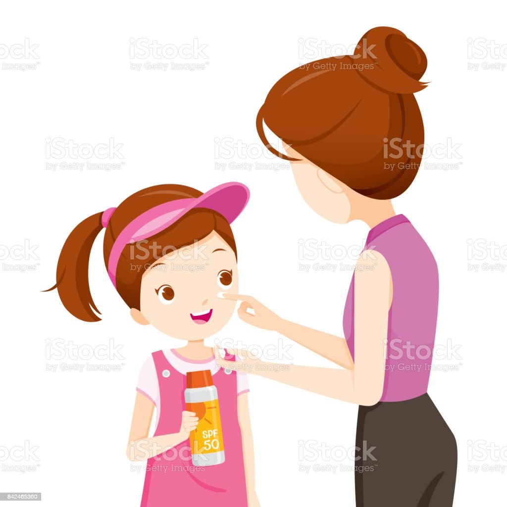 Mother Wearing Sunscreen On Daughter Face vector art illustration
