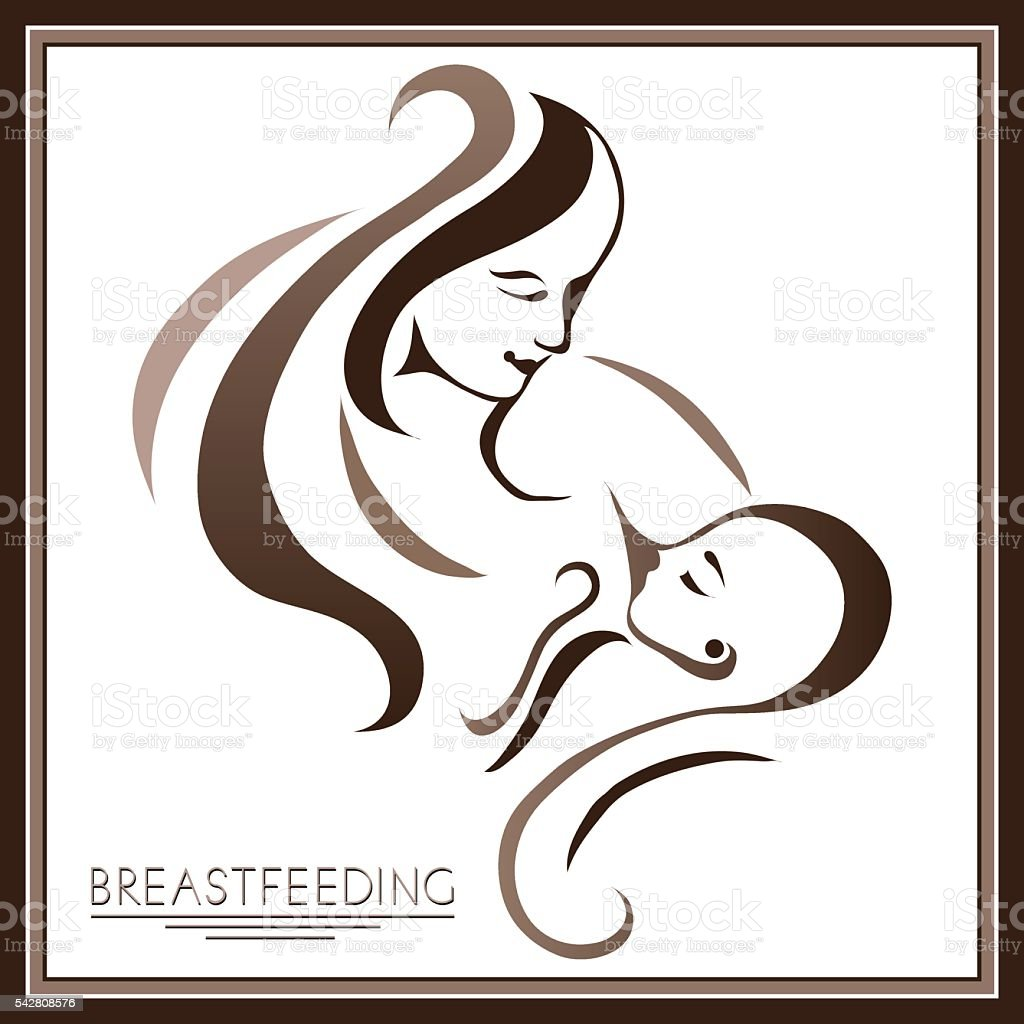 Mother with a baby (breastfeeding) 1 vector art illustration