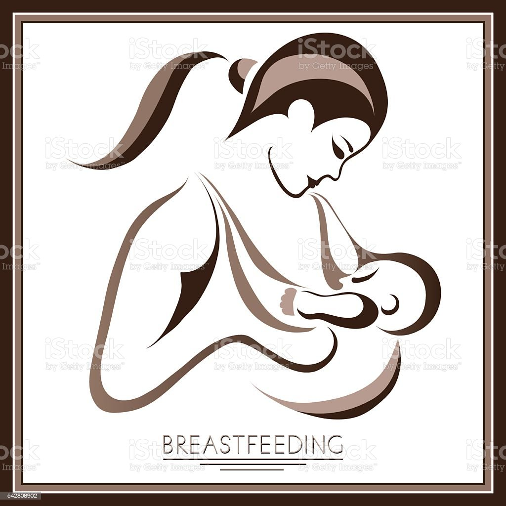 Mother with a baby (breastfeeding) 3 vector art illustration