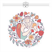 A mother with a baby. Vector illustration