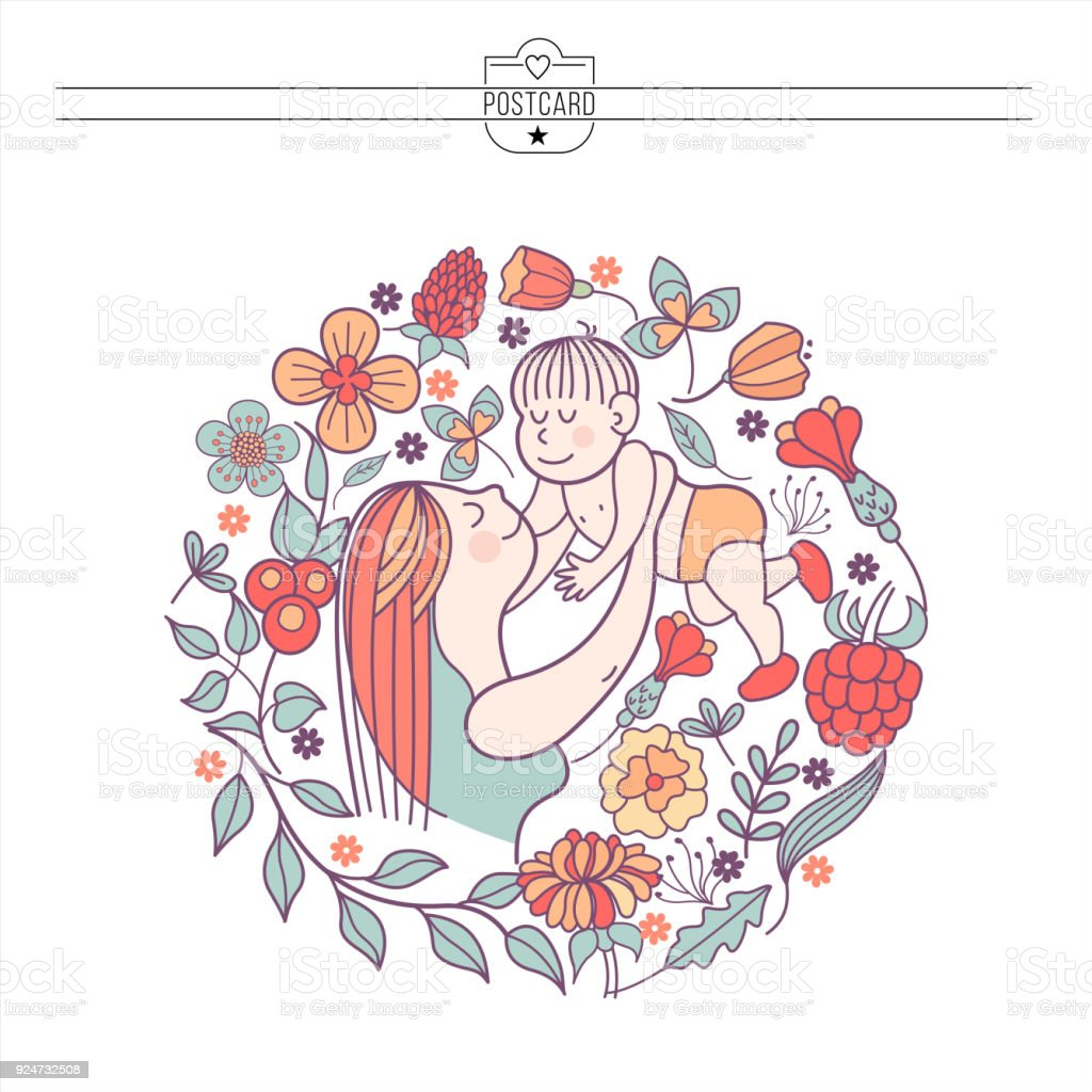 A mother with a baby. Vector illustration vector art illustration