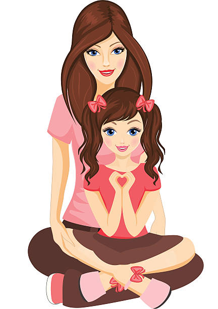 Mother with a daughter. vector art illustration