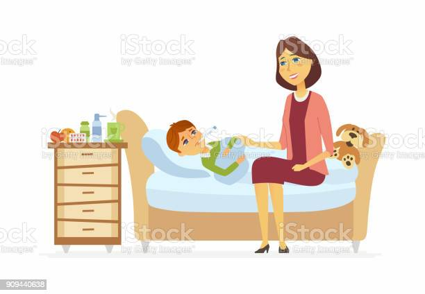 Mother with an ill boy cartoon people characters illustration vector id909440638?b=1&k=6&m=909440638&s=612x612&h=u1e81eic78ymxi5pmigazti5yqjlnjclxwro2voazly=