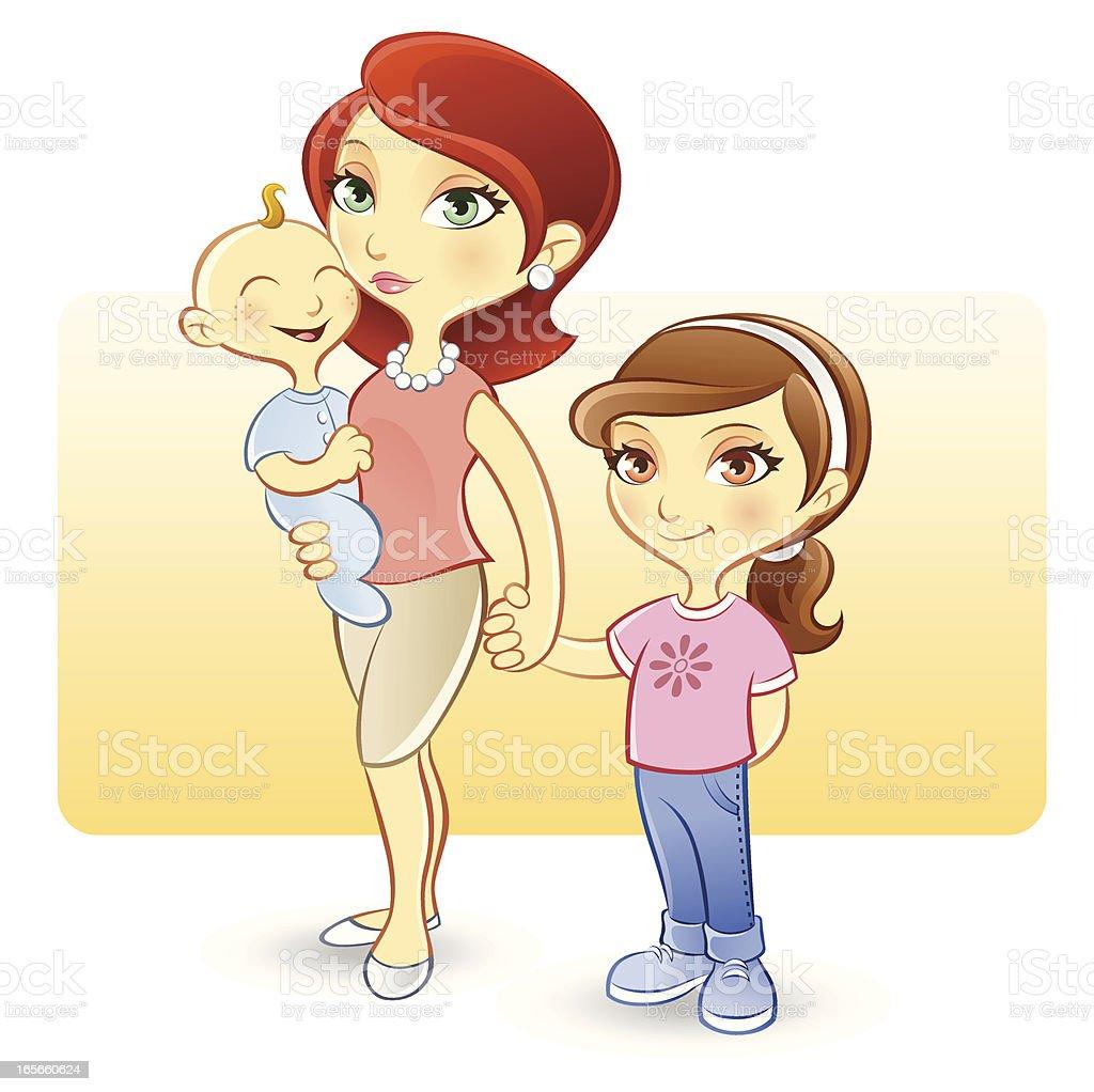 母と娘の赤ちゃんと子供 のイラスト素材 165660624 | istock
