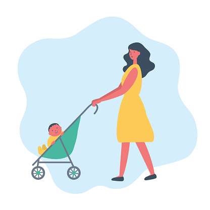 Mother with baby boy on a walk. Cute young woman in a yellow dress with a green baby stroller