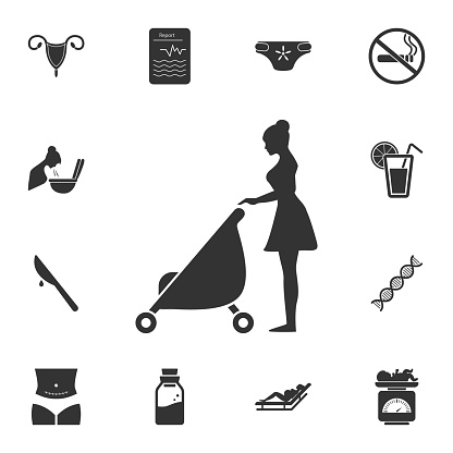 Mother with baby carriage icon. Simple element illustration. Mother with baby carriage symbol design from Pregnancy collection set. Can be used for web and mobile
