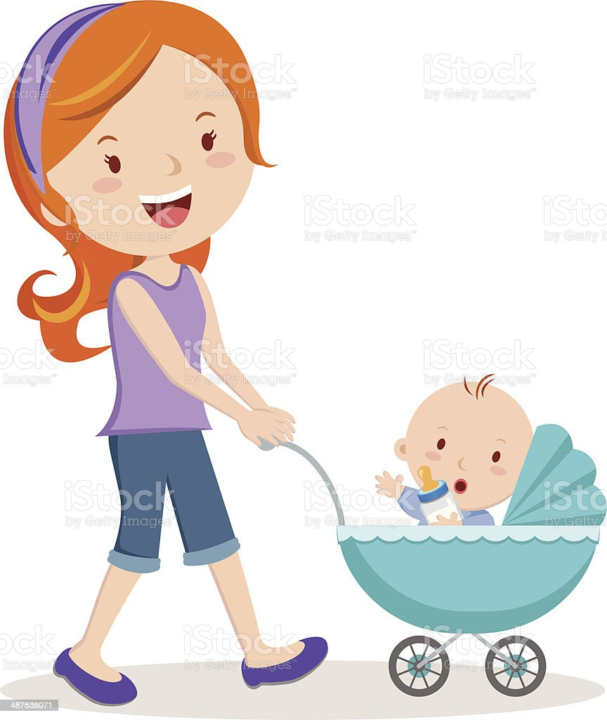 Mother with baby in stroller vector art illustration