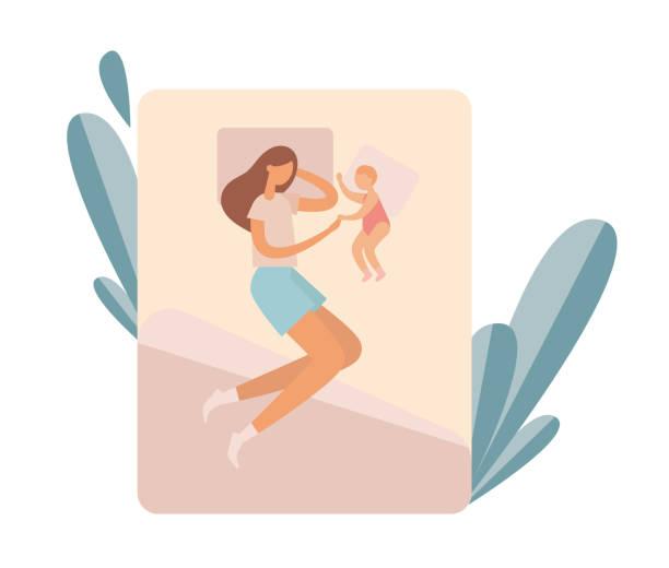 bildbanksillustrationer, clip art samt tecknat material och ikoner med mamma med barn vilar på sängen. platt vektorillustration - cosy pillows mother child