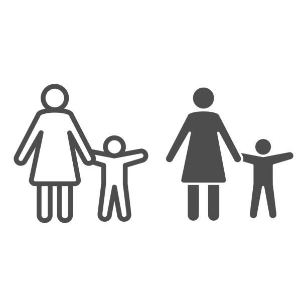 子供の線と固体アイコンを持つ母, 子供の保護シンボル, 親と子供のシルエットベクトルは、白い背景に記号, モバイルとウェブのためのアウトラインスタイルでママと息子のアイコン.ベクタ - シングルマザー点のイラスト素材/クリップアート素材/マンガ素材/アイコン素材