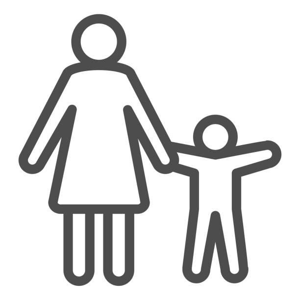子供の線アイコンを持つ母, 子供の保護シンボル, 親と子供のシルエットベクトルは、白い背景に記号, モバイルとウェブのためのアウトラインスタイルでママと息子のアイコン.ベクターグラ - シングルマザー点のイラスト素材/クリップアート素材/マンガ素材/アイコン素材