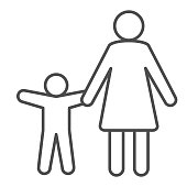 Mother with child thin line icon, Children protection symbol , Parent and kid silhouette vector sign on white background, Mom and son icon in outline style for mobile and web. Vector graphics