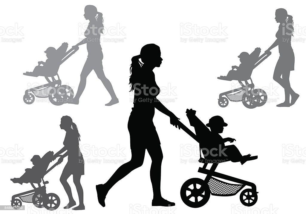 Mother with children on walk vector art illustration