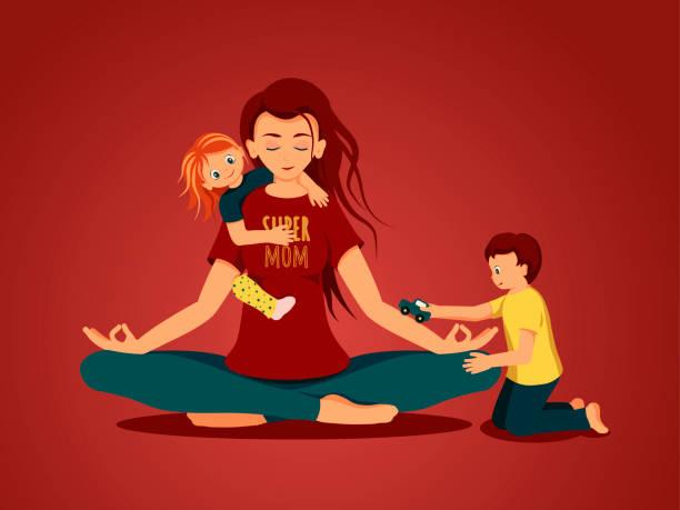 ilustrações de stock, clip art, desenhos animados e ícones de mother with children - super baby