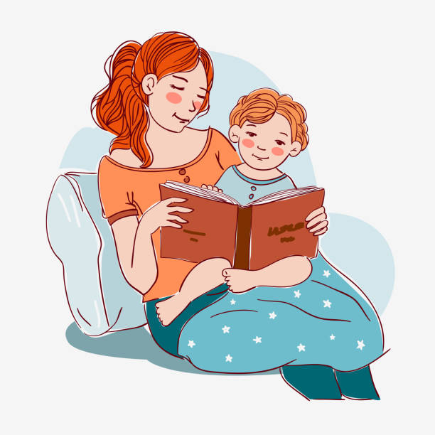 Mother with cute baby reading book. Family, early development, activity, learning Mother with cute baby reading book. Family, early development, activity, learning affectionate stock illustrations