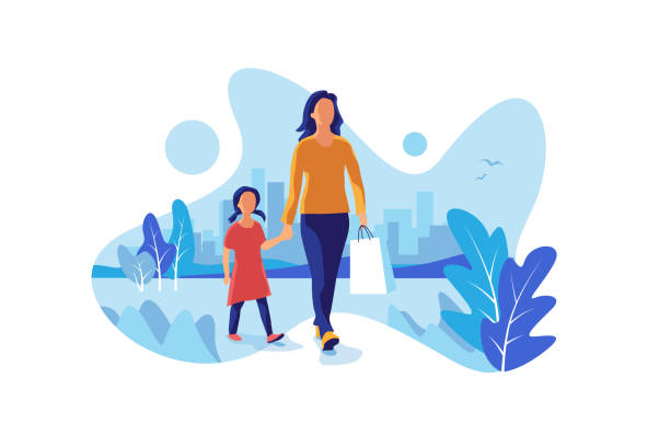 mother with daugther walking shoppping in the city - single mother stock illustrations