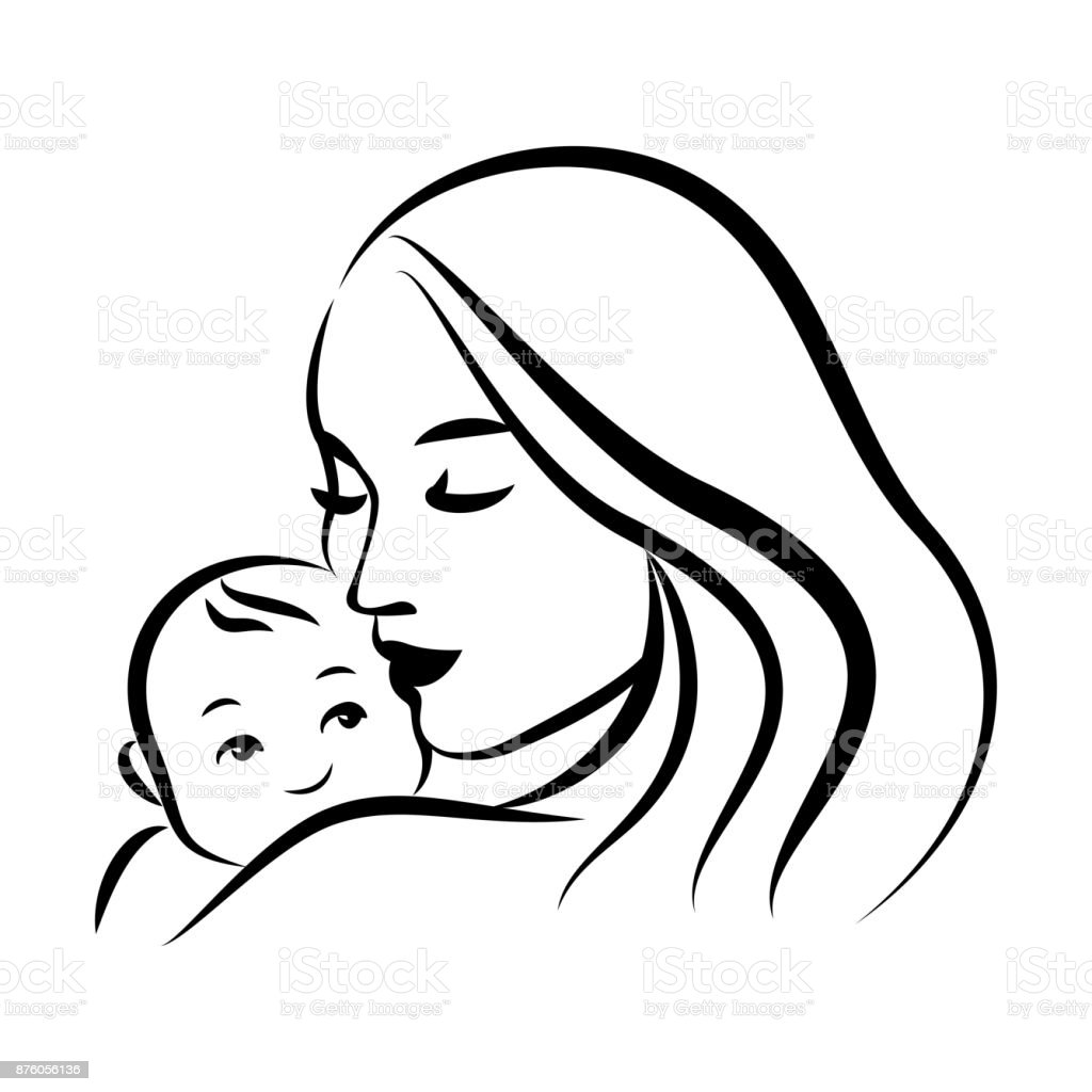 Love The Mother Child Silhouette: Mother With Her Baby Stylized Outline Symbol Motherhood