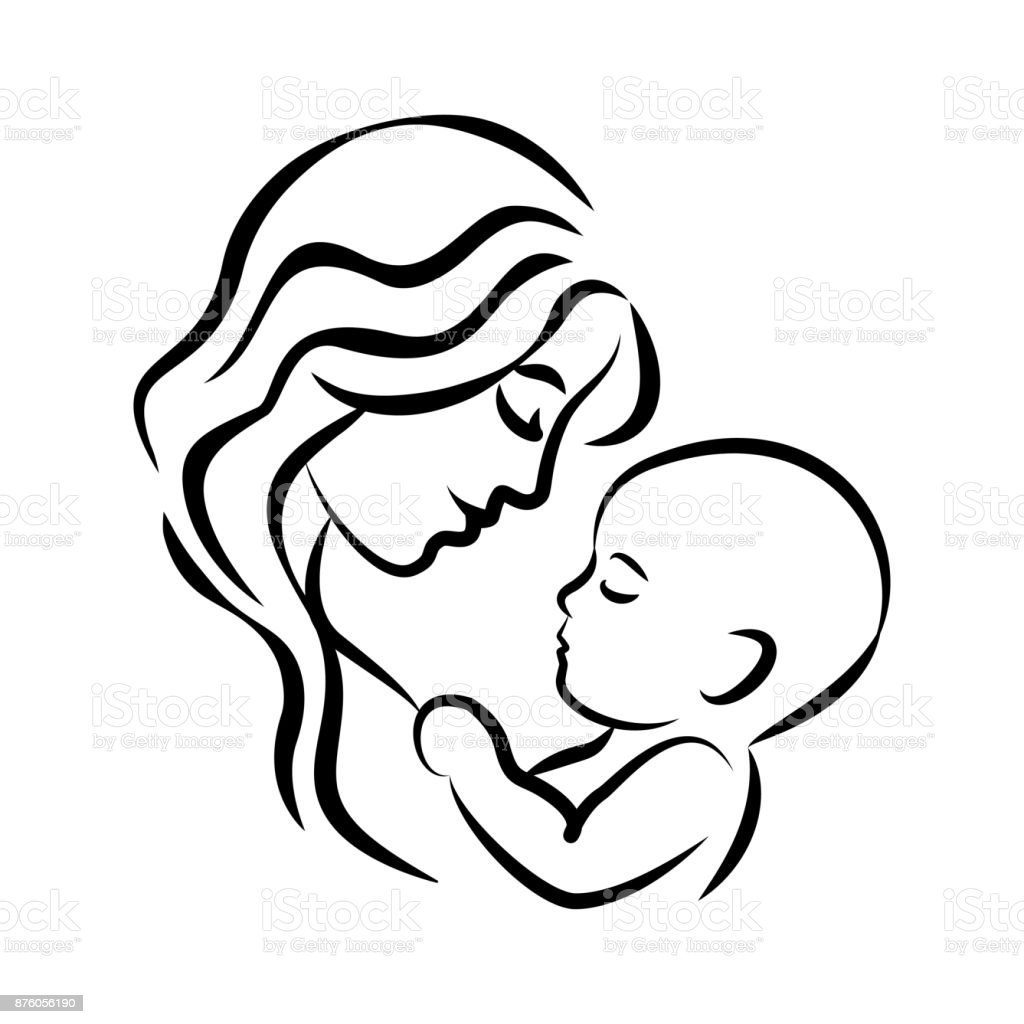 Mother with her baby. Stylized outline symbol. Motherhood, love, mother care. Silhouette, icon, icon, sign. Vector illustration.