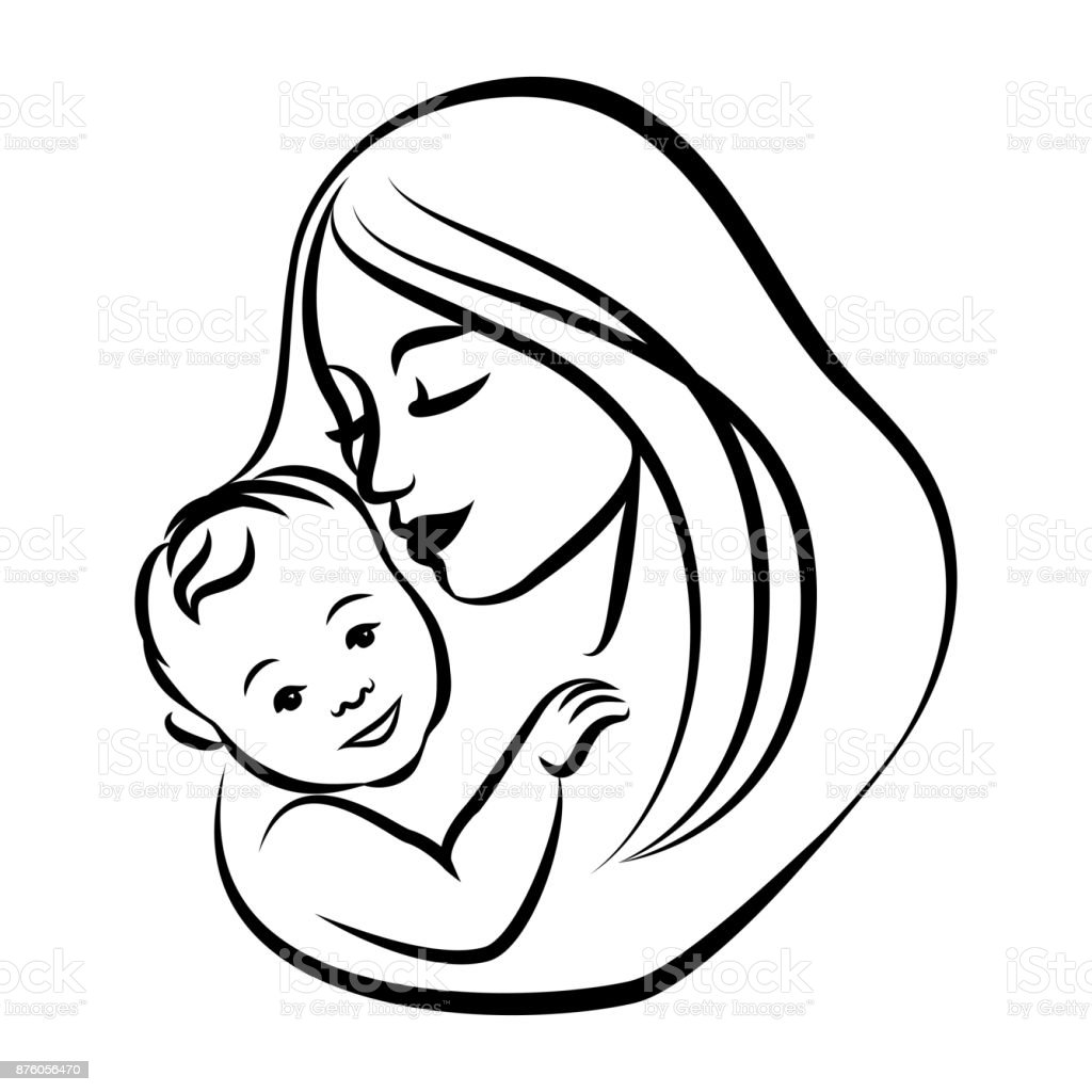 silhouette icon sign a mothers care stock images