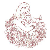 istock Mother with her little son. Adult coloring vector page. Motherday illustration 1221797012