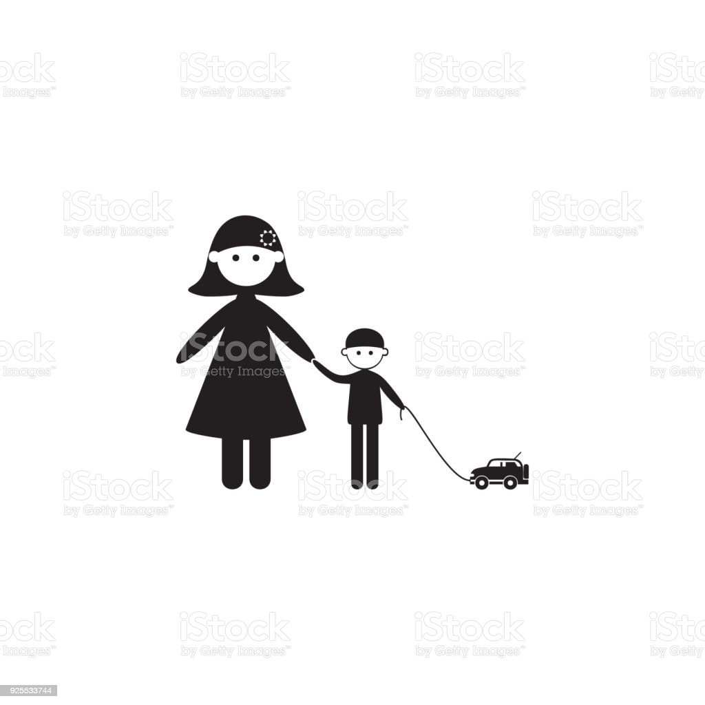 Mother With Her Son On A Walk Icon Illustration Of Family Values