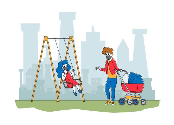 stockillustraties, clipart, cartoons en iconen met moeder met kinderen in gezichtsmaskers live in vervuilde stad wandelen op straat. fijn stof luchtvervuiling, coronavirus pandemie - baby dirty