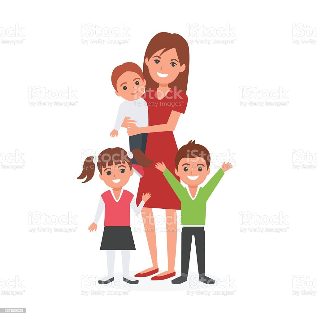 Mother with kids vector art illustration