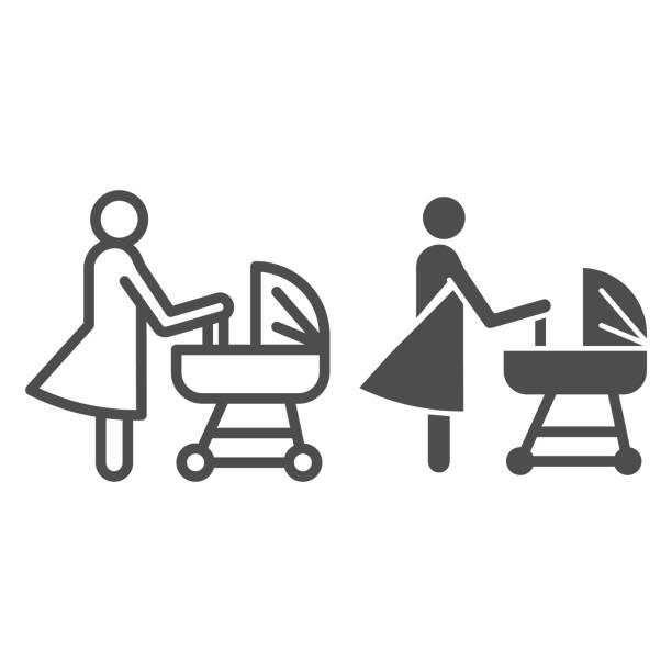 プラムラインと固体アイコンを持つ母、母性の概念、赤ちゃんのキャリッジサイン白い背景、ベビーカーシンボルの新生児を持つママモバイル、ウェブ。ベクトル。 - シングルマザー点のイラスト素材/クリップアート素材/マンガ素材/アイコン素材