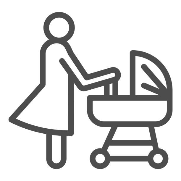 プラムラインアイコン、母性の概念、赤ちゃんのキャリッジサインを持つ母は、白い背景に、ベビーカーシンボルで新生児を持つママモバイル、ウェブ。ベクトル。 - シングルマザー点のイラスト素材/クリップアート素材/マンガ素材/アイコン素材