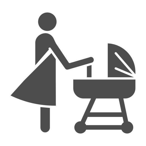 プラムソリッドアイコン、母性の概念、赤ちゃんのキャリッジサインを持つ母は、白い背景に、ベビーカーシンボルで新生児を持つママモバイル、ウェブ。ベクトル。 - シングルマザー点のイラスト素材/クリップアート素材/マンガ素材/アイコン素材