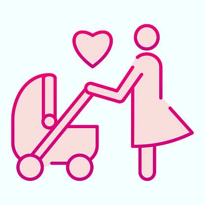 Mother with stroller flat icon. Child carriage with mom vector illustration isolated on white. Parent with pram gradient style design, designed for web and app. Eps 10.